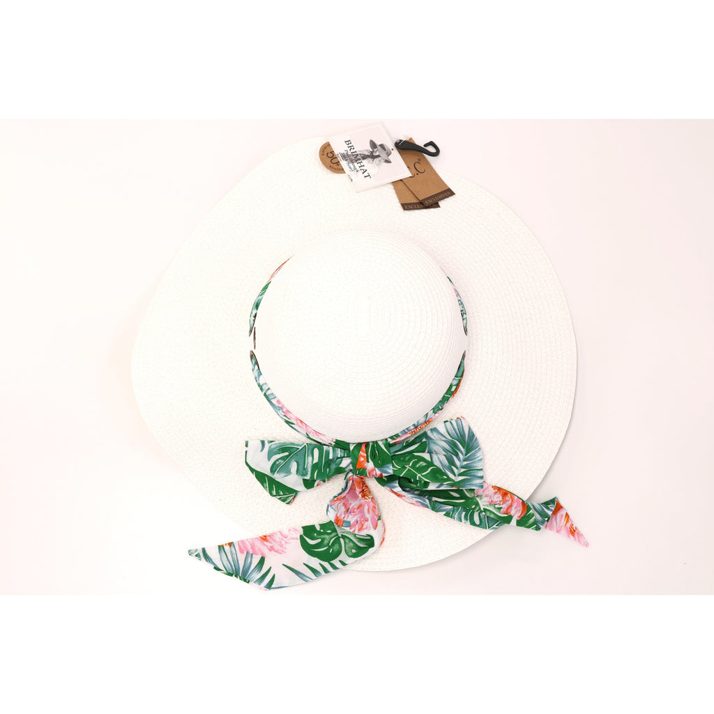 Tropical Pull Through Sash Sunhat ST3017