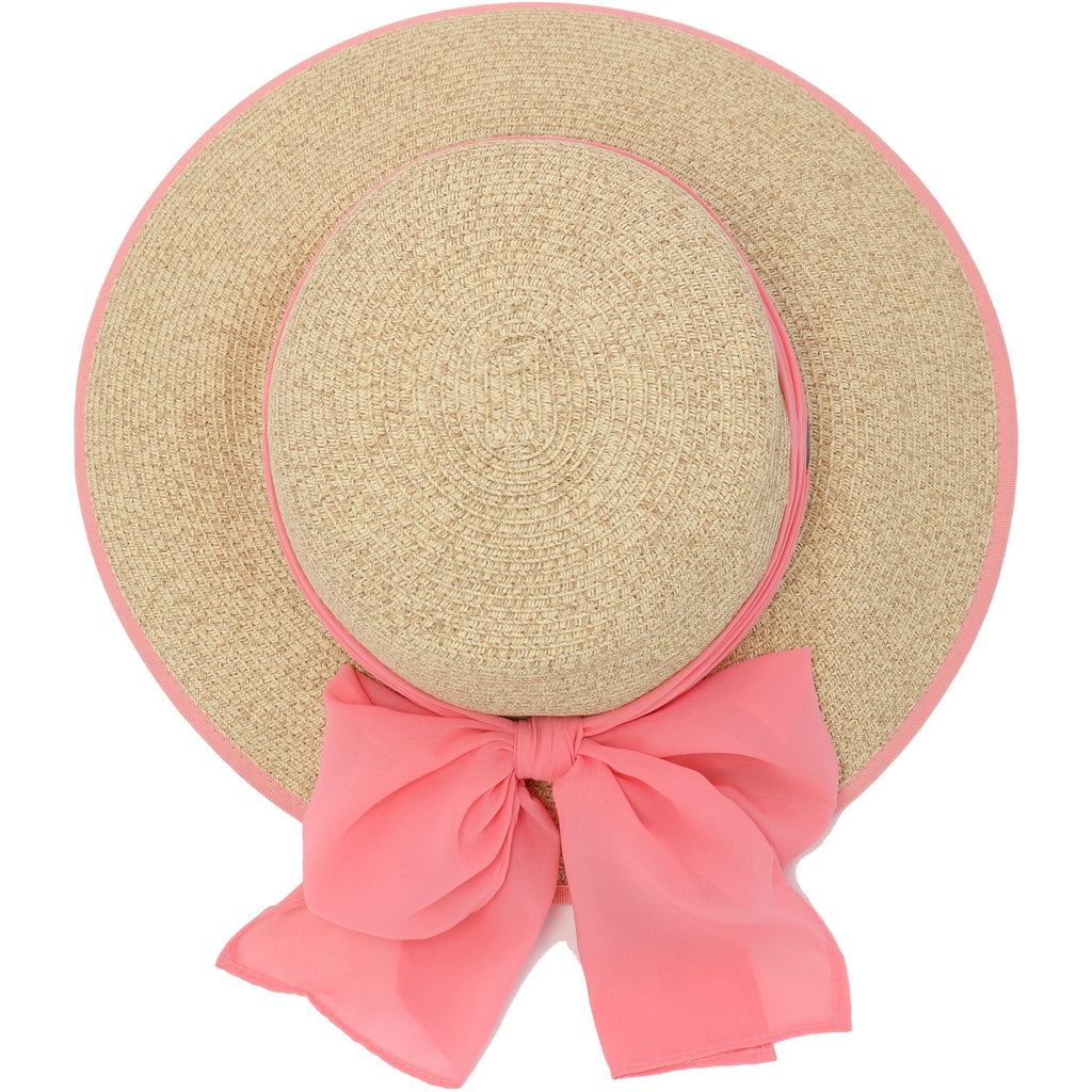 Natural Paper Brim Hat with Solid Chiffon Sash ST811