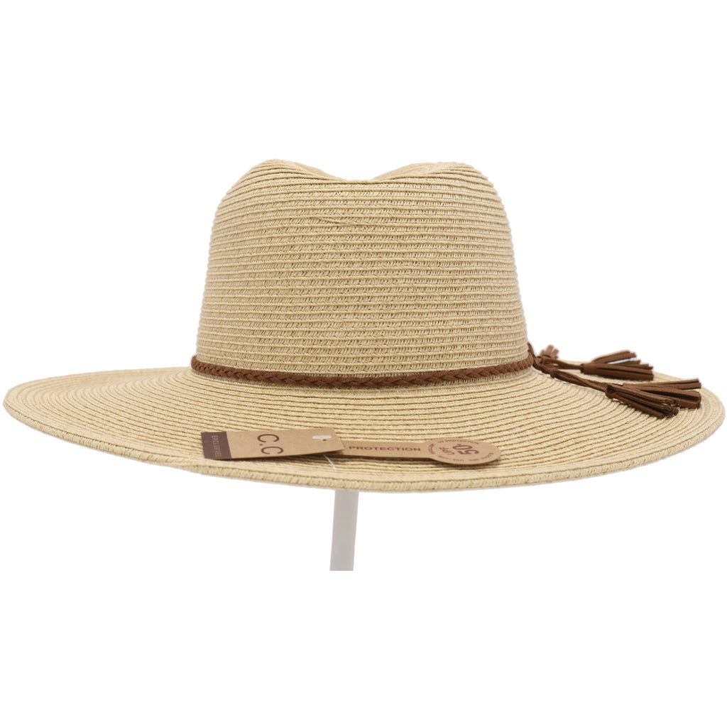 Paper Straw Panama Hat with Braided Suede Tassel ST810