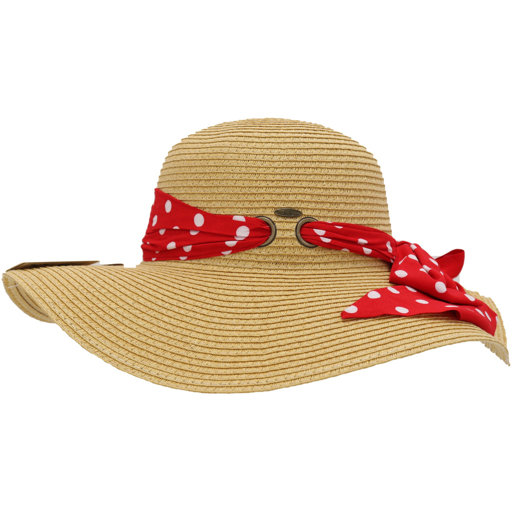Polka Dots Pull Through Sash Sunhat ST3020