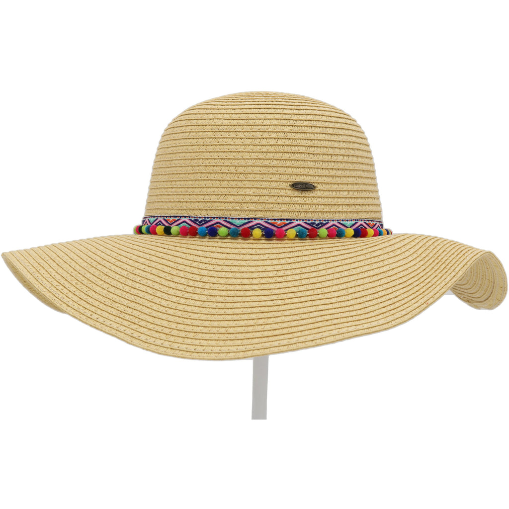 Straw Hat with Multi Pom Accent ST2022