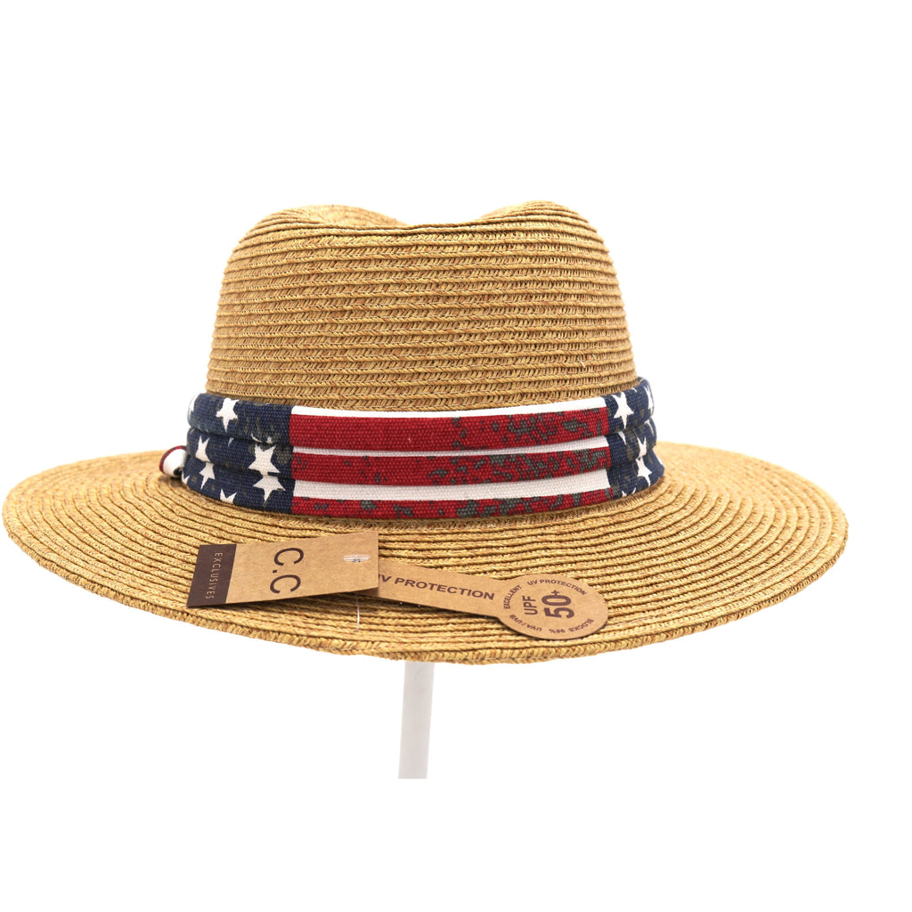 Fedora with American Flag Printed Band ST819