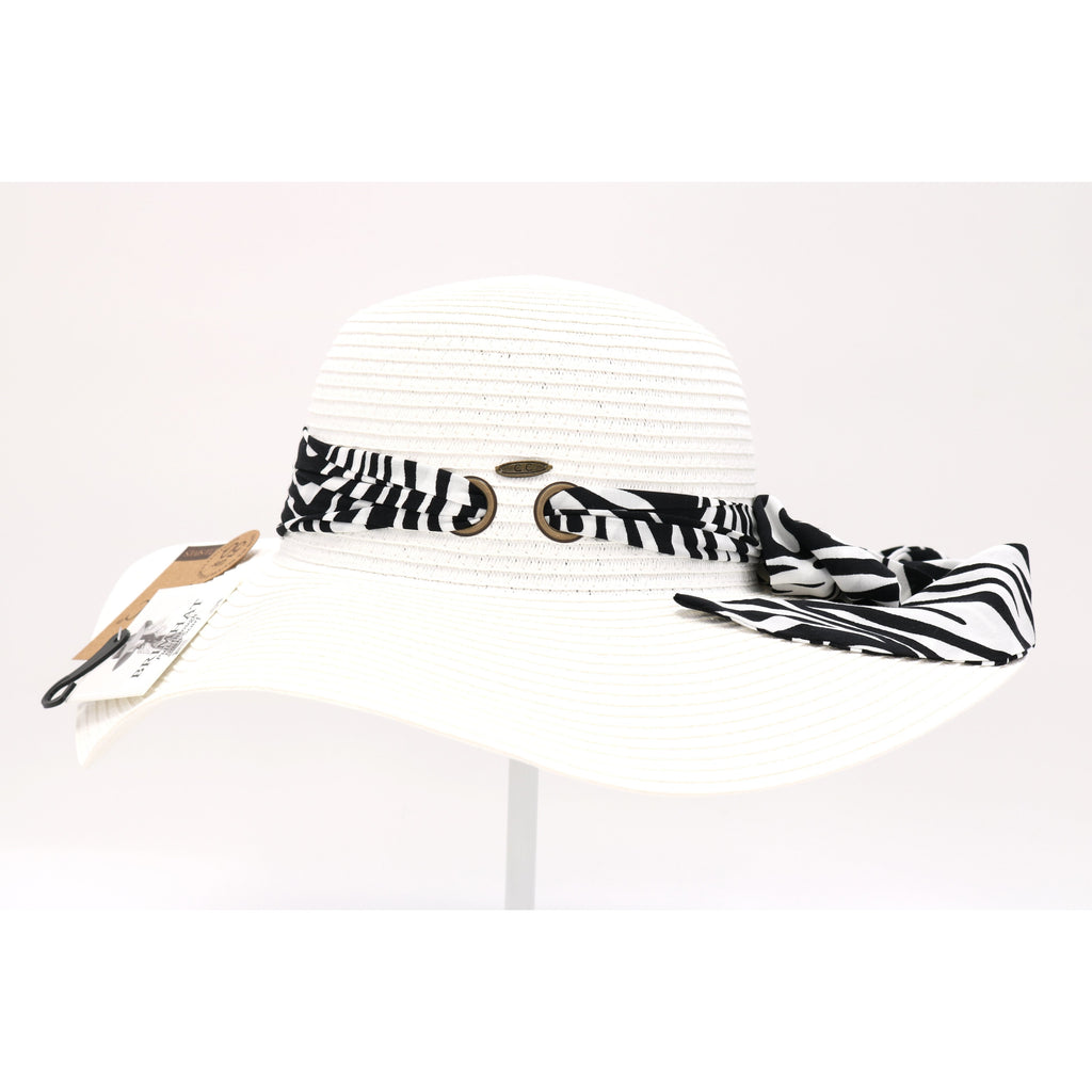 Zebra Pull Through Sash Sunhat ST3019