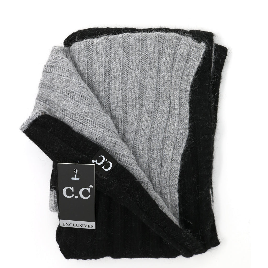 CC Exclusive-Black Label Two Tone Ribbed Knit Infinity Scarves INF400