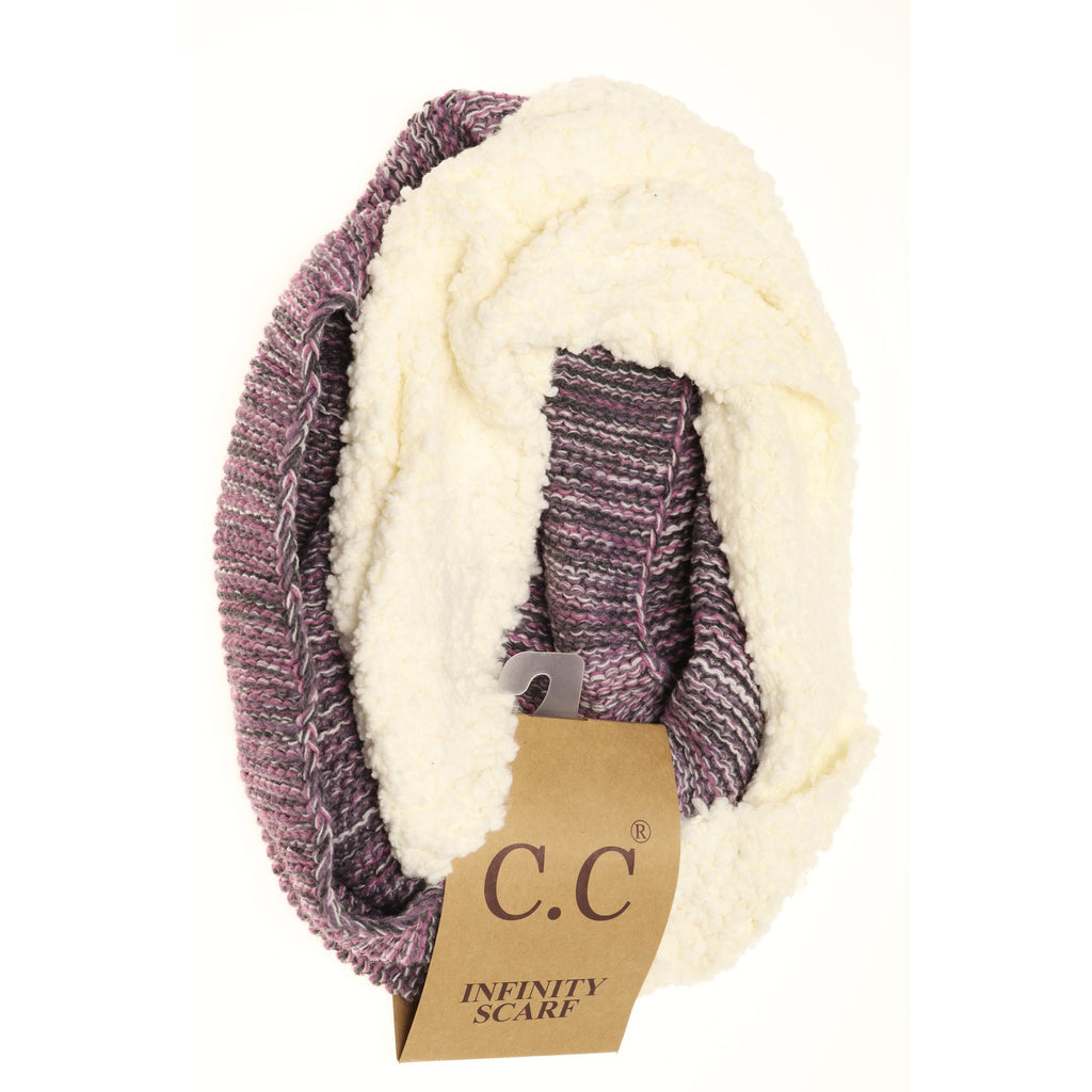 Popcorn Heathered Sherpa Lined Knit Scarf INF7391