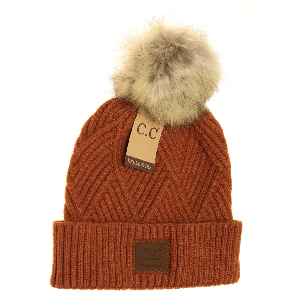 Large Patch Heathered Pom Beanie HAT2060
