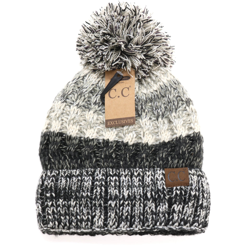Fuzzy Lined Tri-Color Pom CC Beanie HAT1816