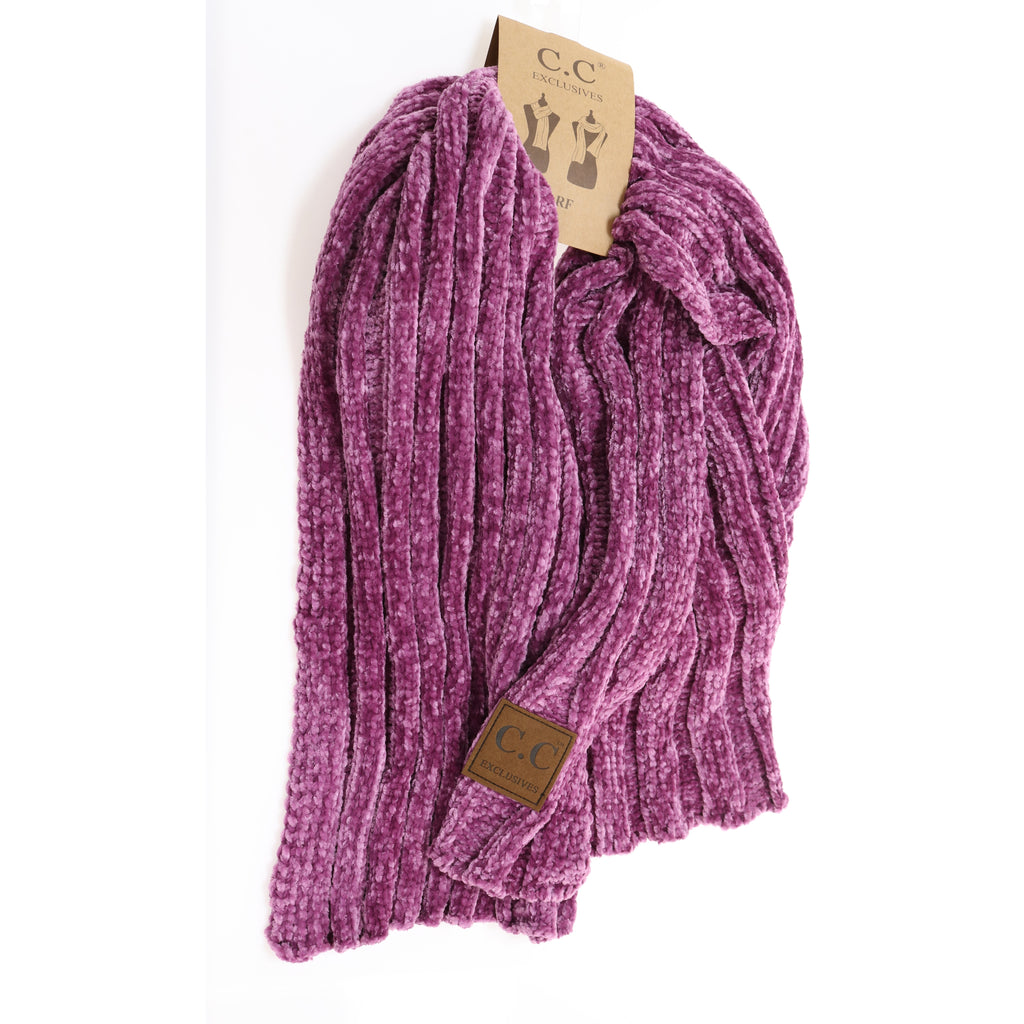 Solid Ribbed Chenille CC Scarf SF30