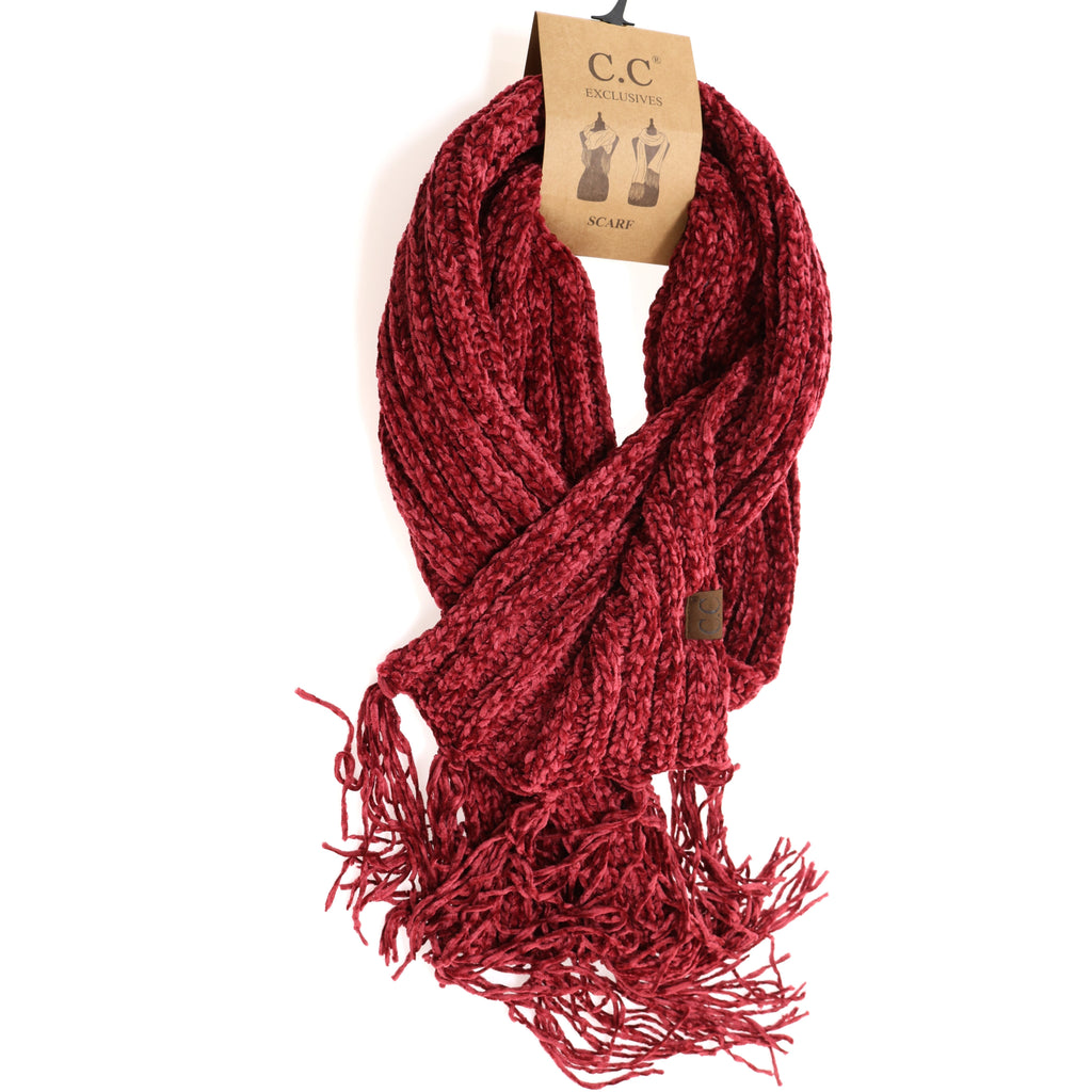 Solid Ribbed Chenille CC Scarf with Fringe SF1815