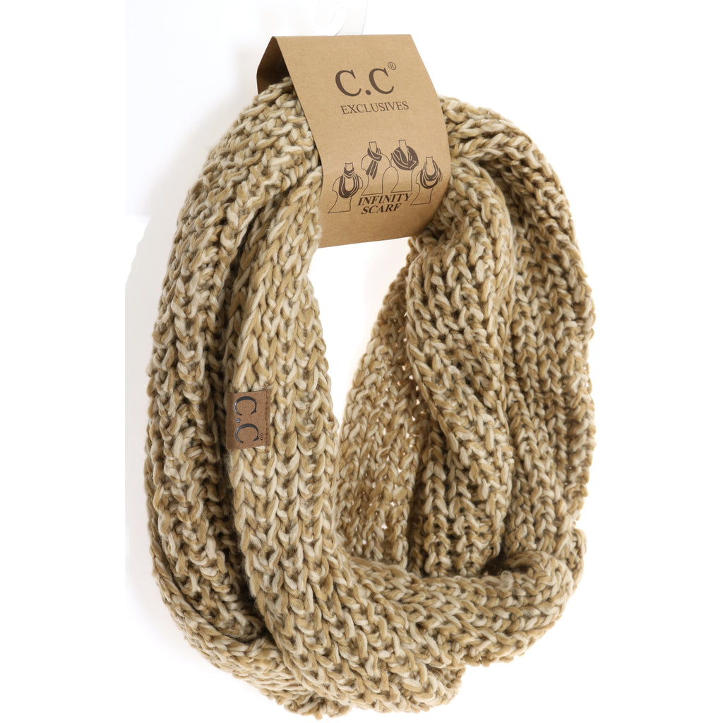 Two-Tone Thick Knit CC Infinity Scarf INF123