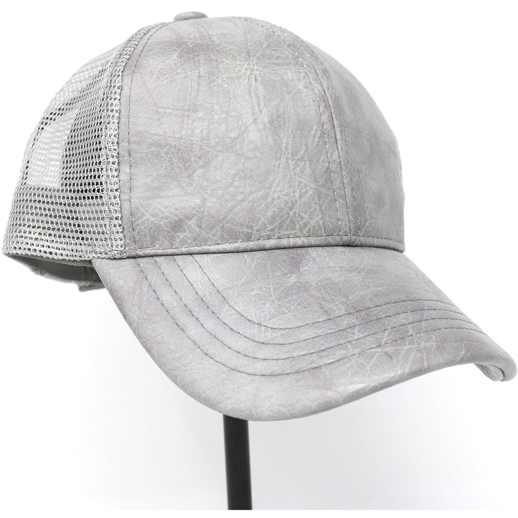 PU Leather with Mesh Back CC Ball Cap