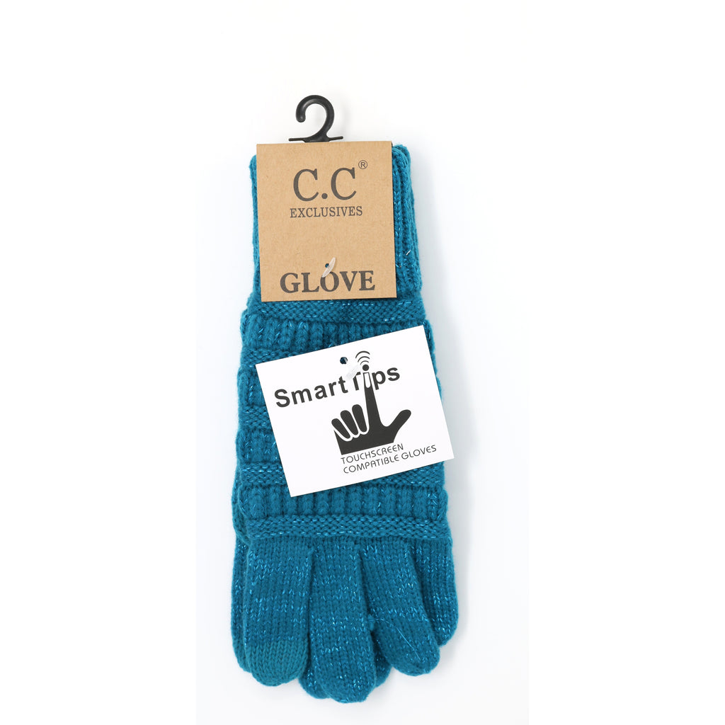 Metallic Cable Knit CC Gloves G20MET