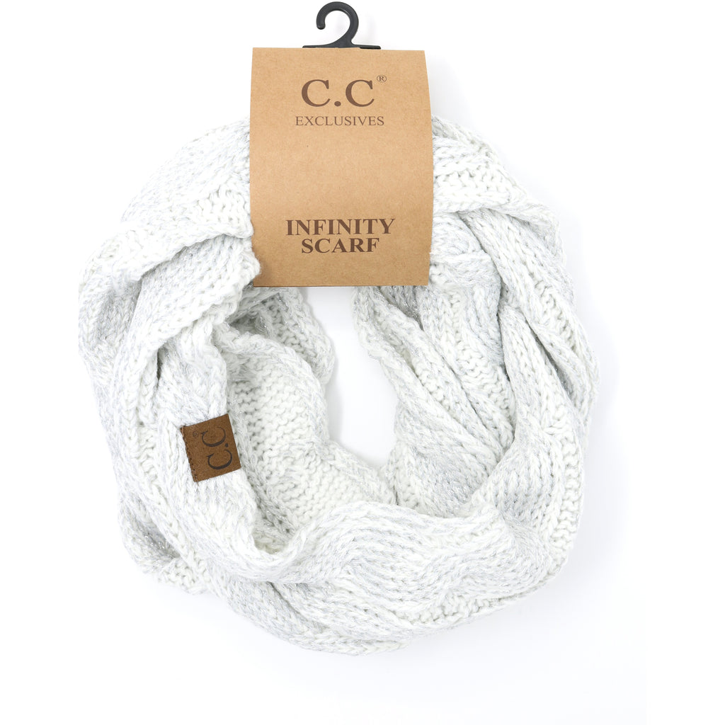 Metallic Cable Knit CC Infinity Scarf SF800MET