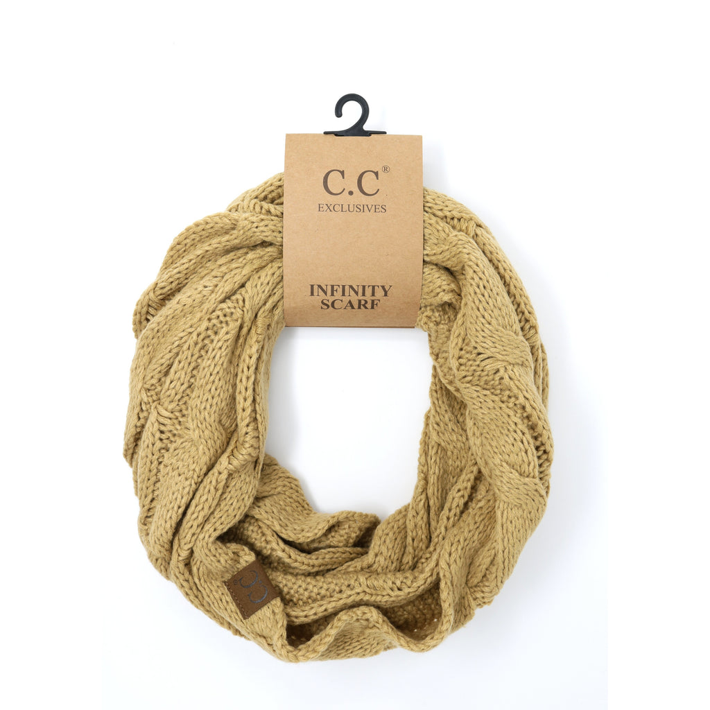 Solid Cable Knit CC Infinity Scarf SF800