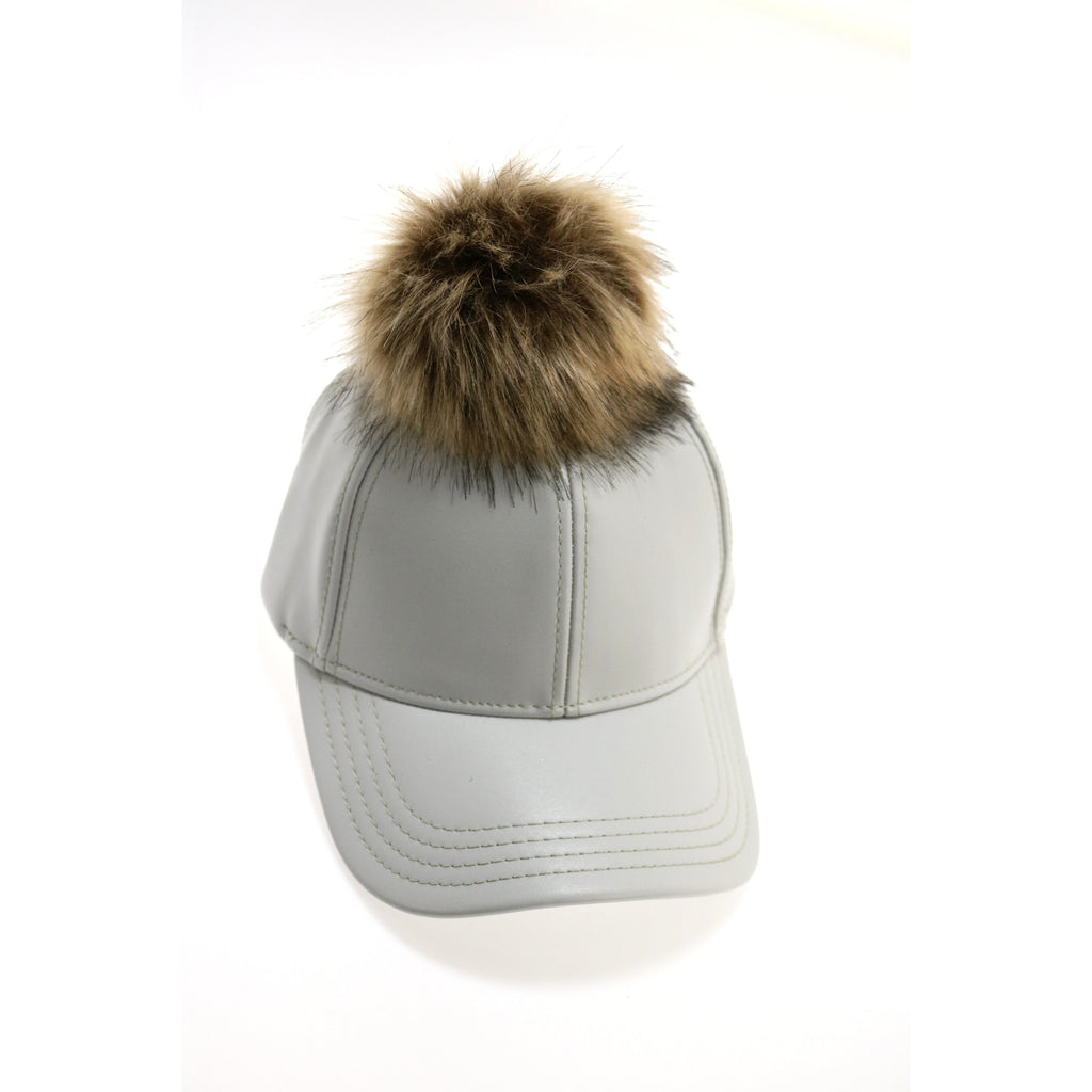 Faux Leather Fur Pom CC Ball Cap BA13