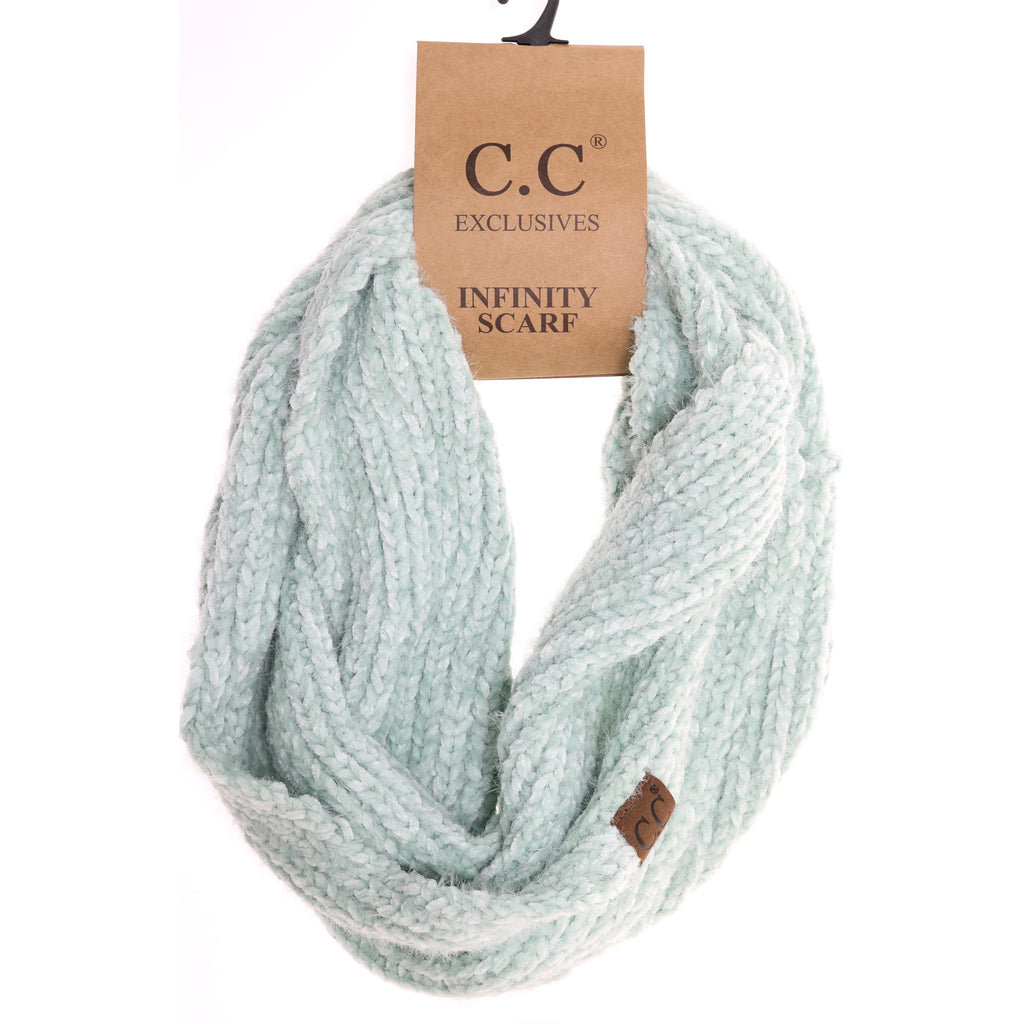 Two Tone Chenille Knit Infinity Scarf INF1925