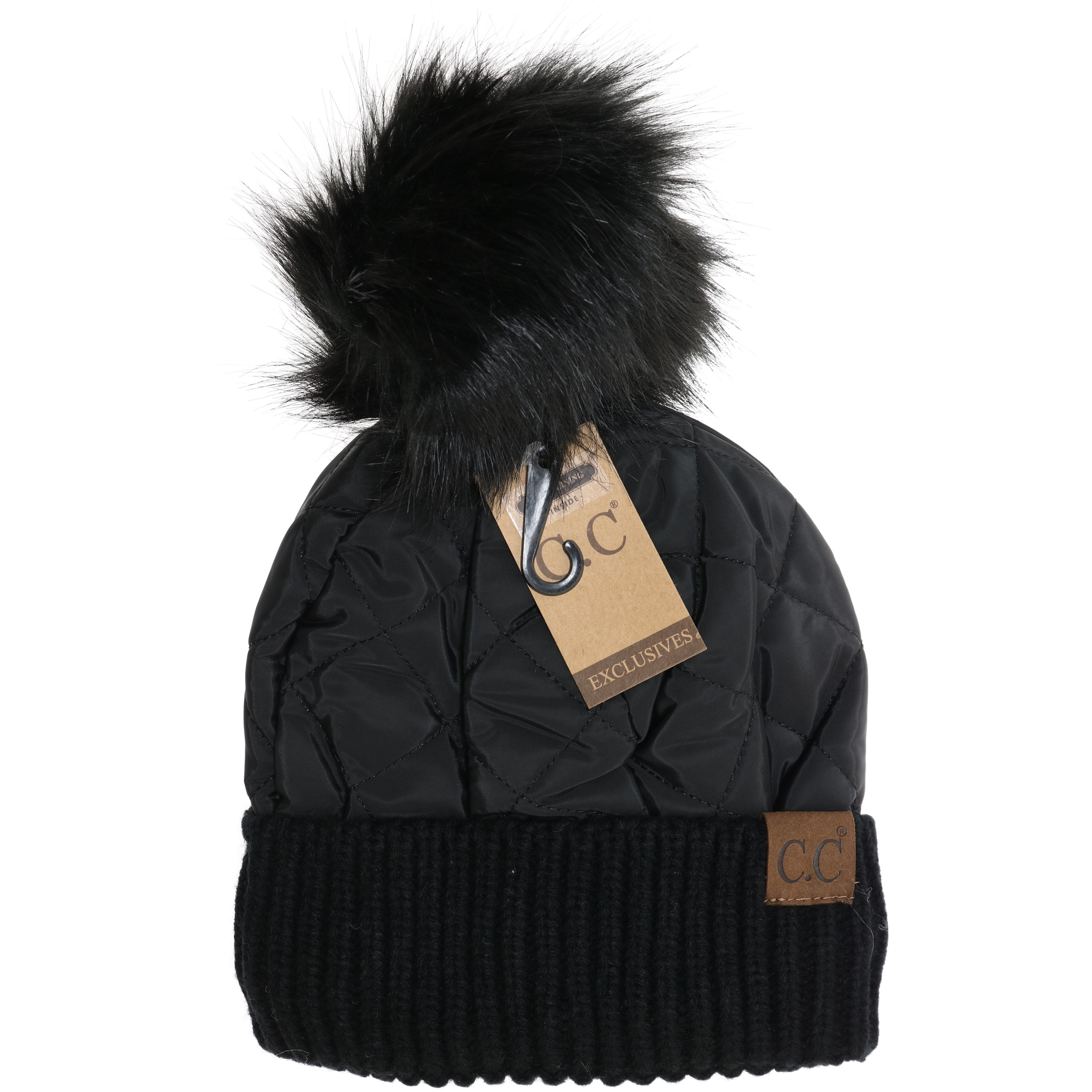 717b2e308 Fleece Lined Quilted Puffer CC Pom Beanie HAT1739