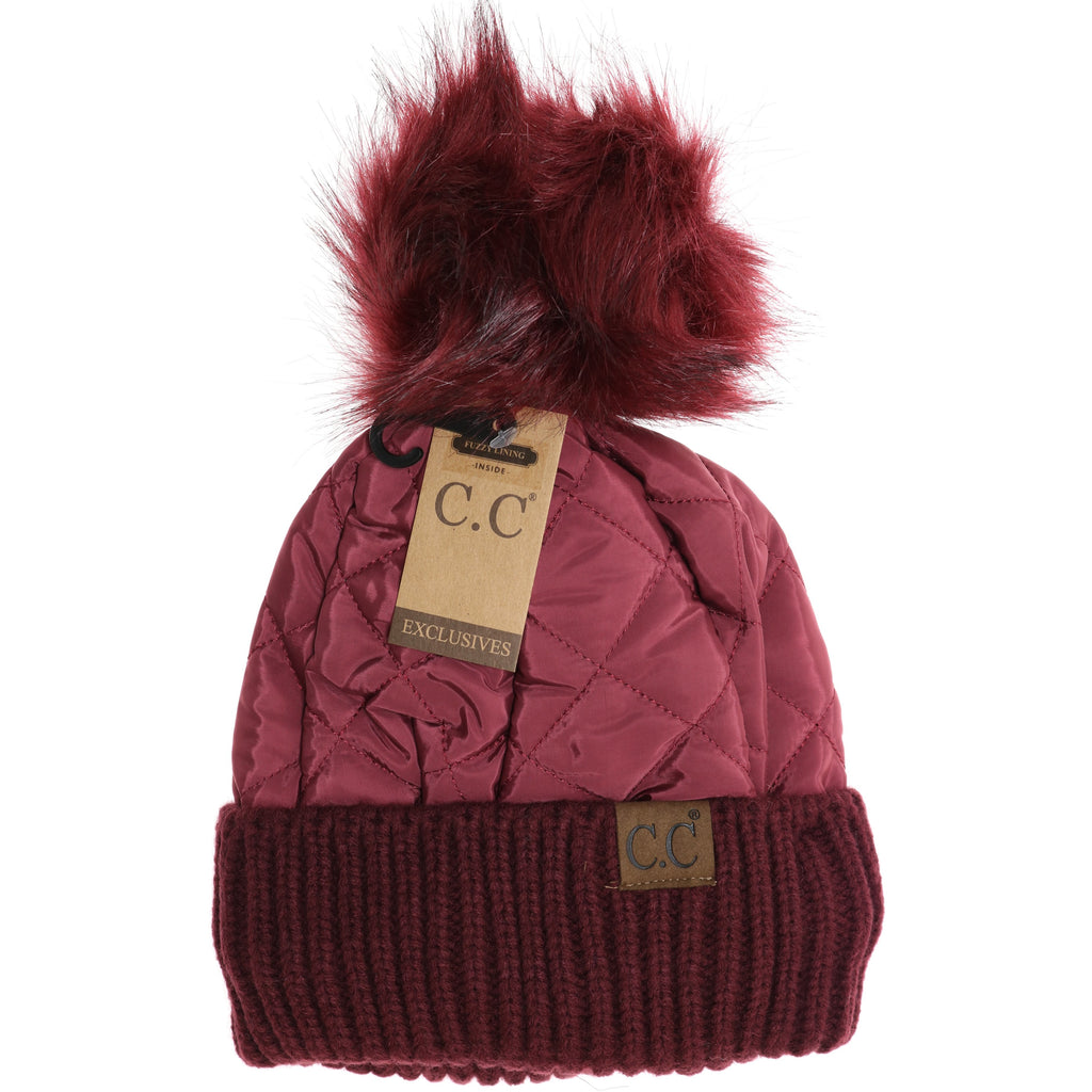 Fleece Lined Quilted Puffer CC Pom Beanie HAT1739
