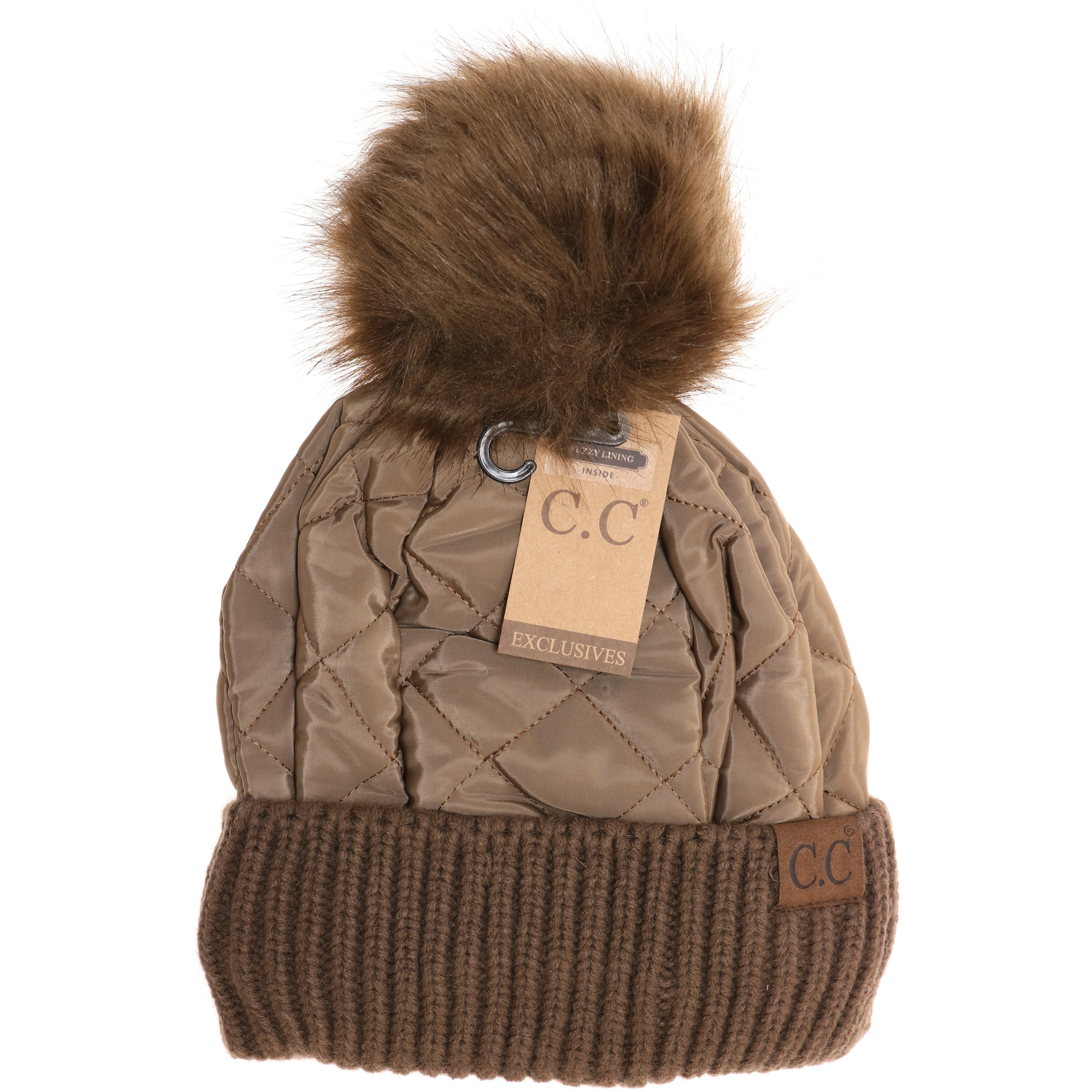 c14b13f0e Fleece Lined Quilted Puffer CC Pom Beanie HAT1739