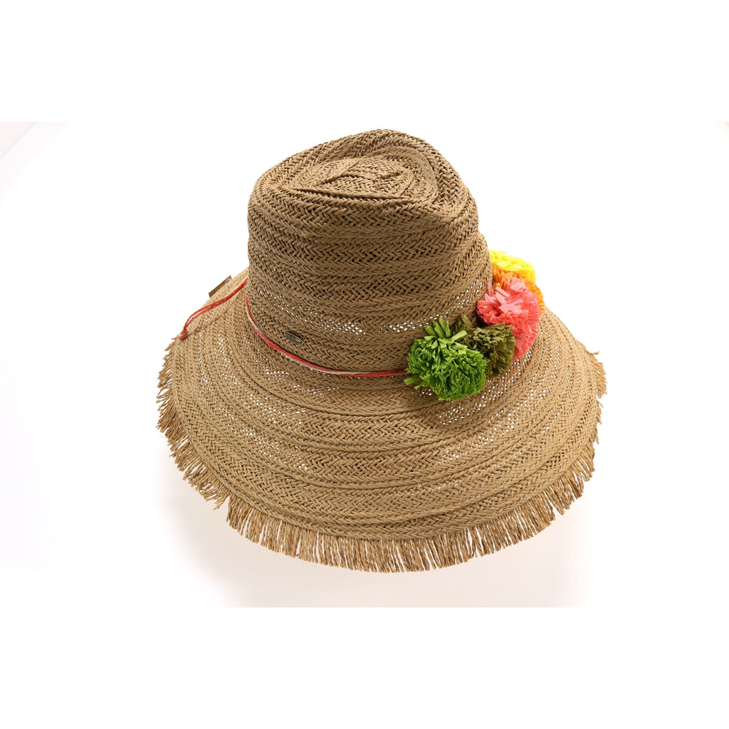 Braided Hat with Multi Paper Flower ST705