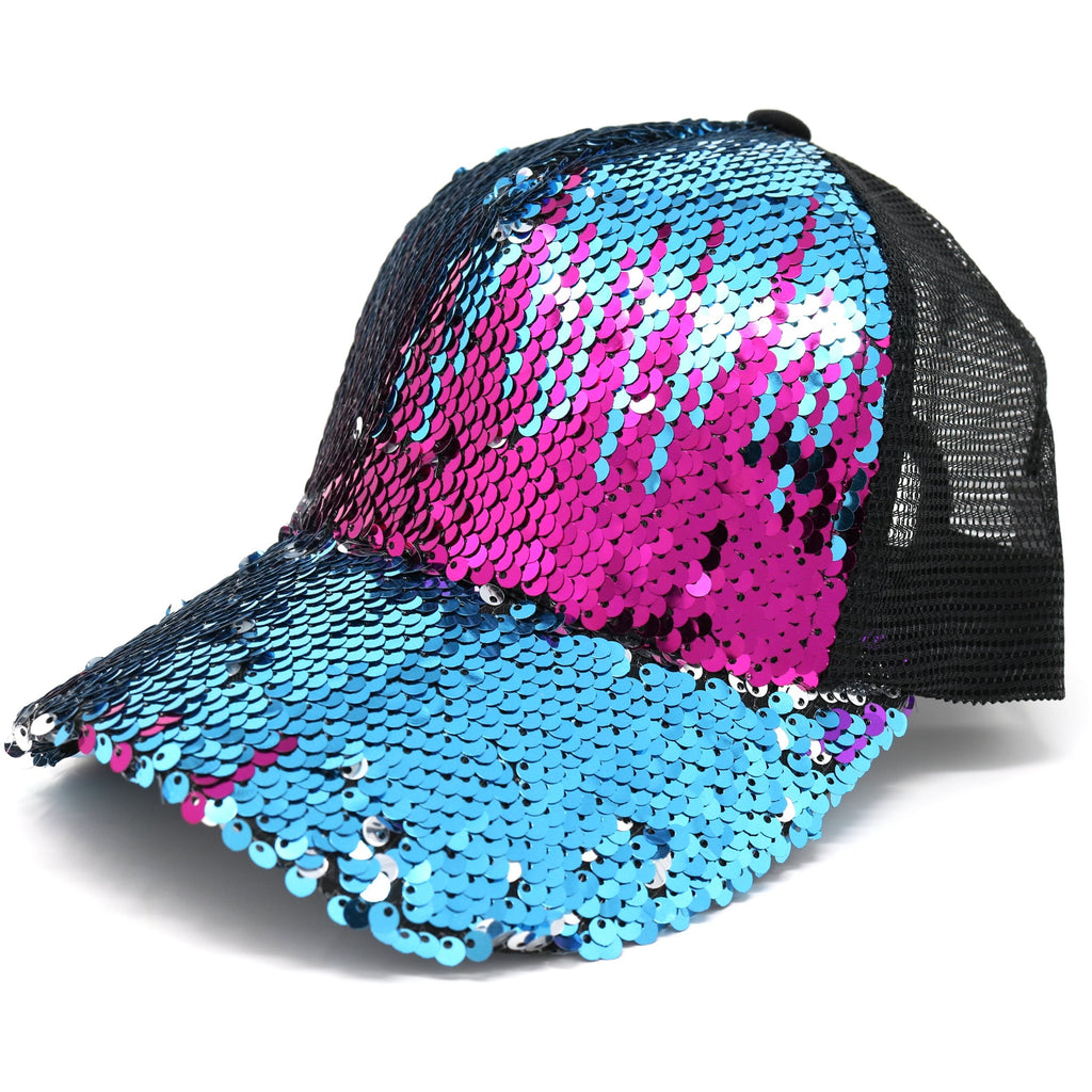 Sequin Mesh Back High Ponytail CC Ball Cap BT723