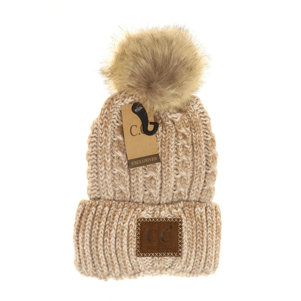 Two-Tone Ombre Vintage Faux Fur Pom Beanie YJ2032