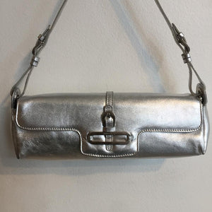 Authentic JIMMY CHOO Silver Mini Leather Clutch
