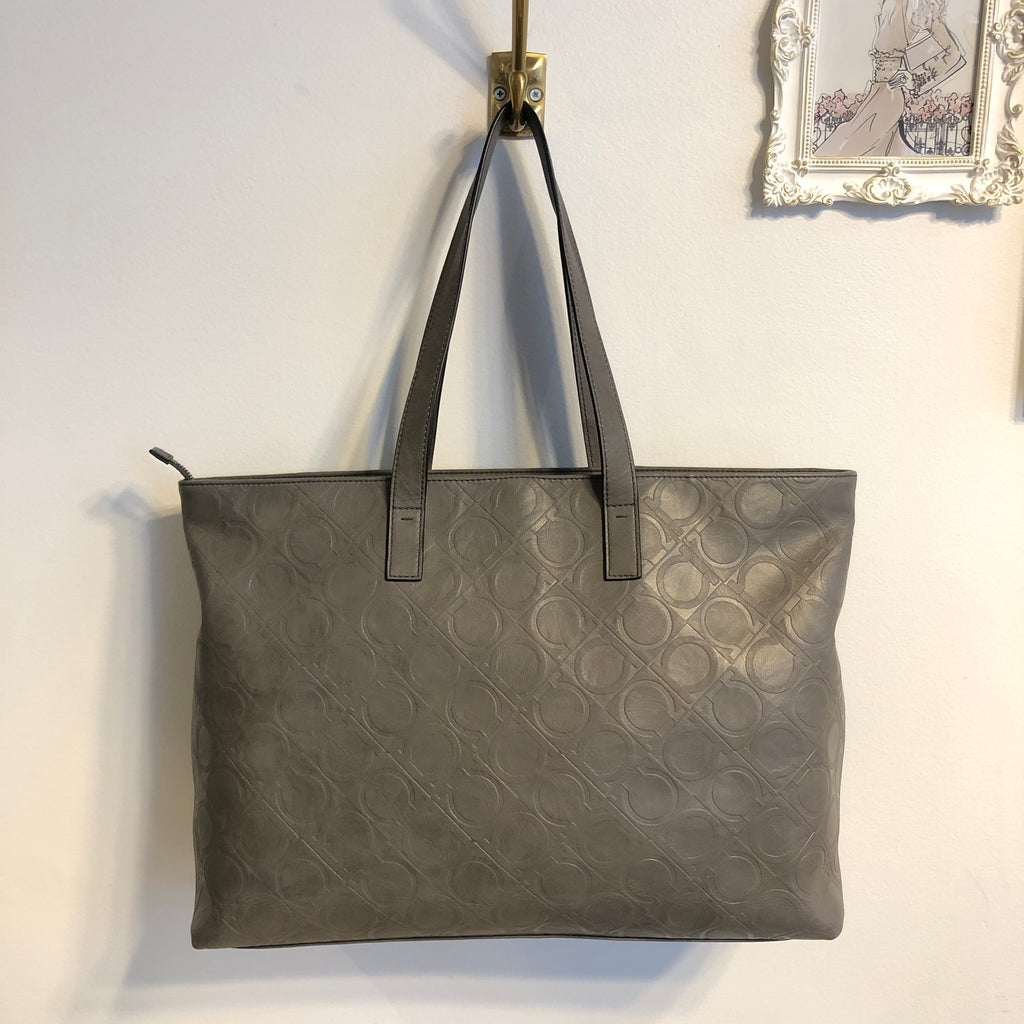 Authentic SALVATORE FERRAGAMO Large Grey Embossed Logo Tote