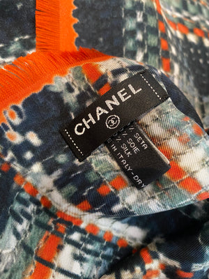 Authentic CHANEL Orange Tweed Print Large Silk Shawl/Wrap