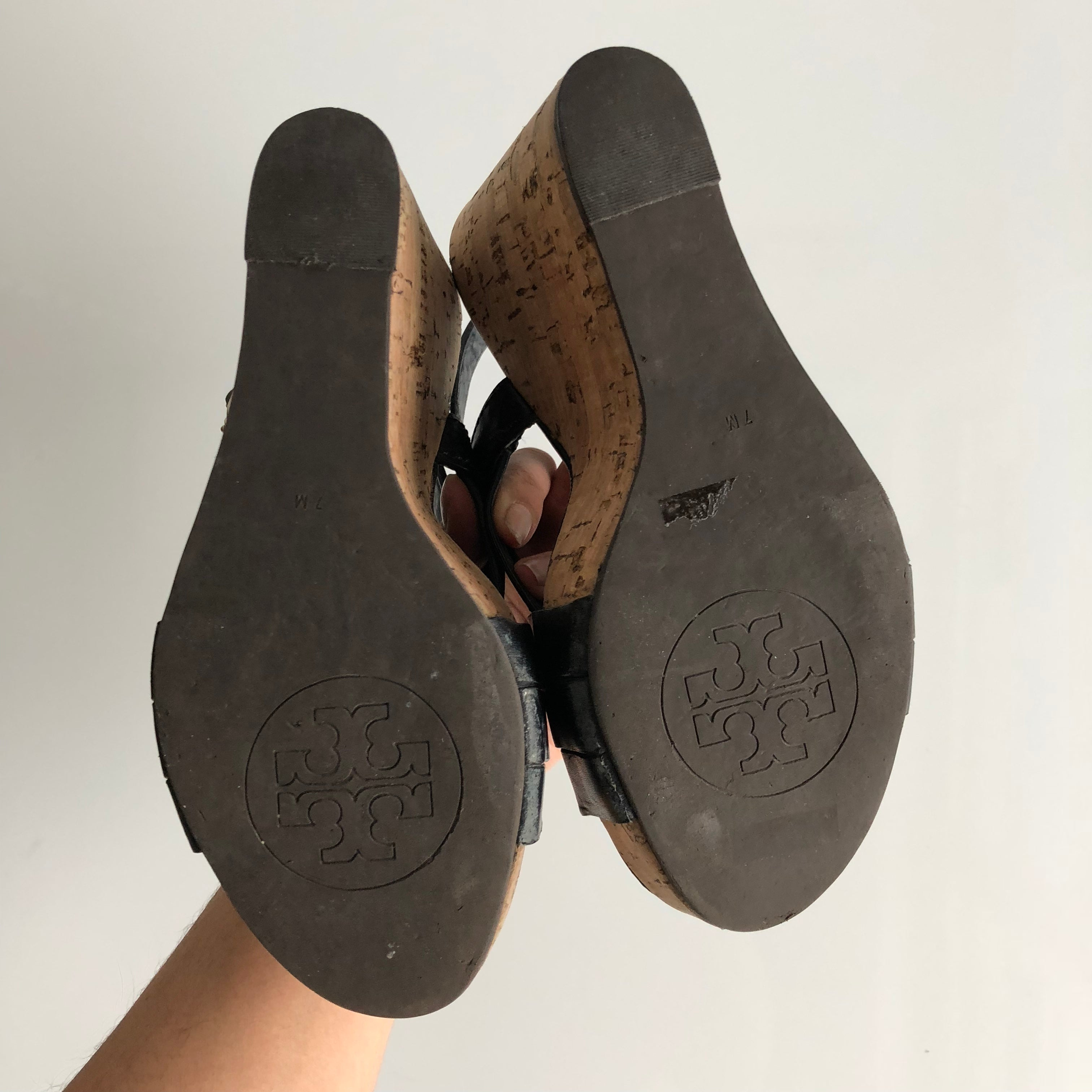 Authentic TORY BURCH Black Leather Wedges Size 7