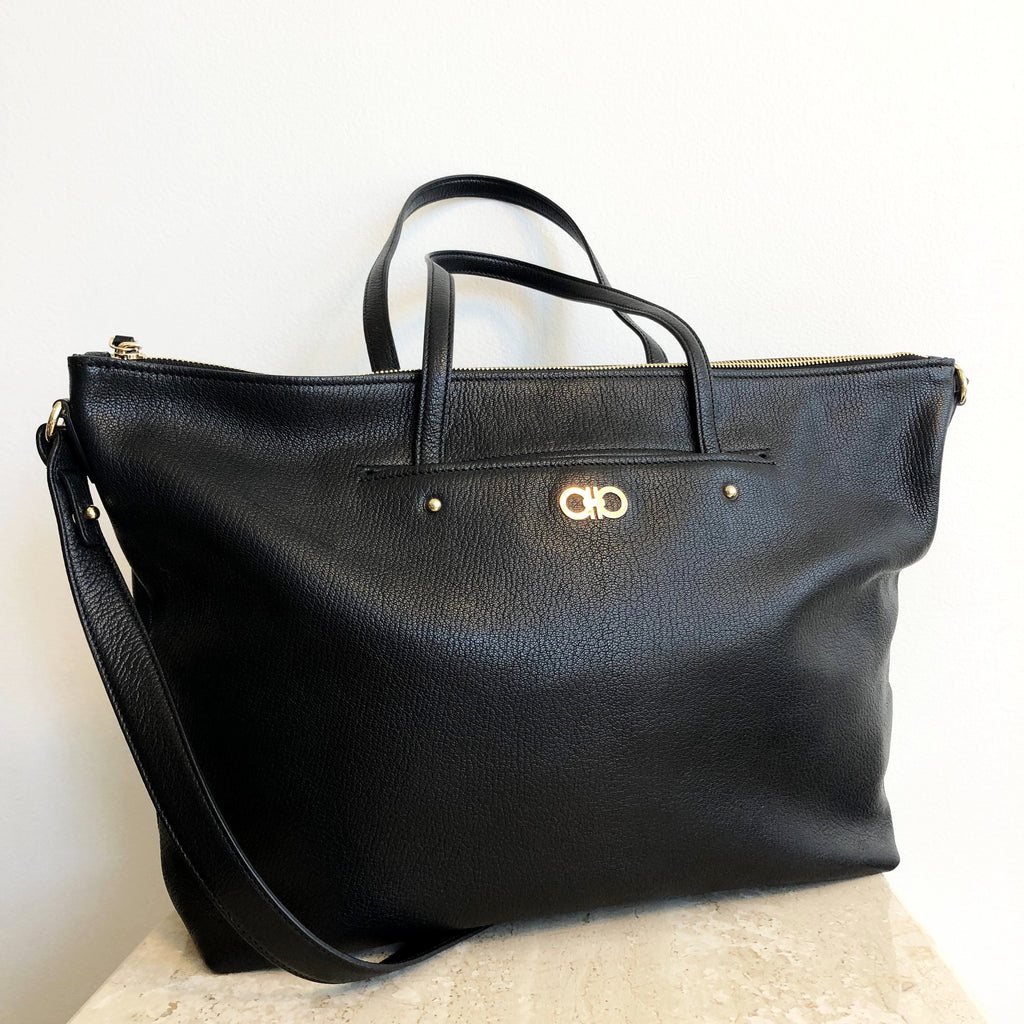 Authentic SALVATORE FERRAGAMO Large Black Leather Tote