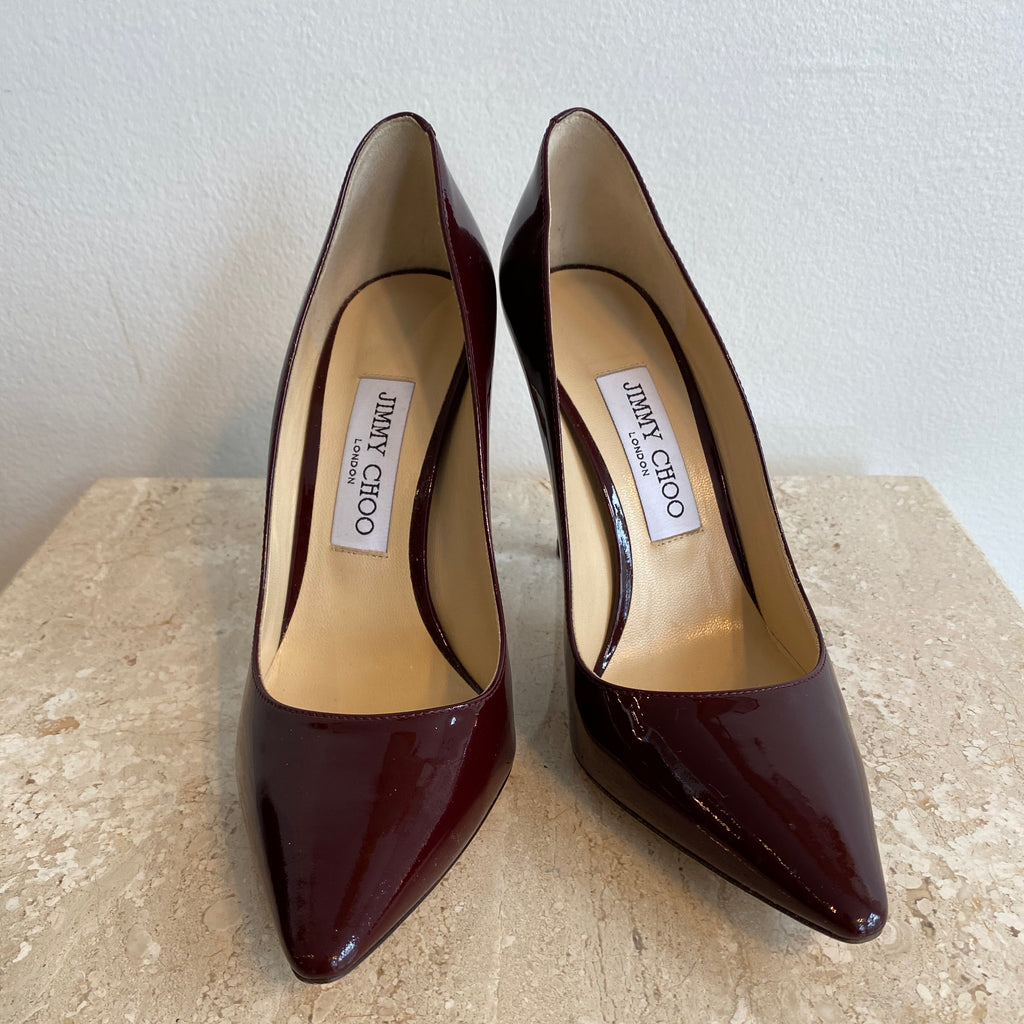 Authentic JIMMY CHOO Burgundy Patent Pump Size 7.5