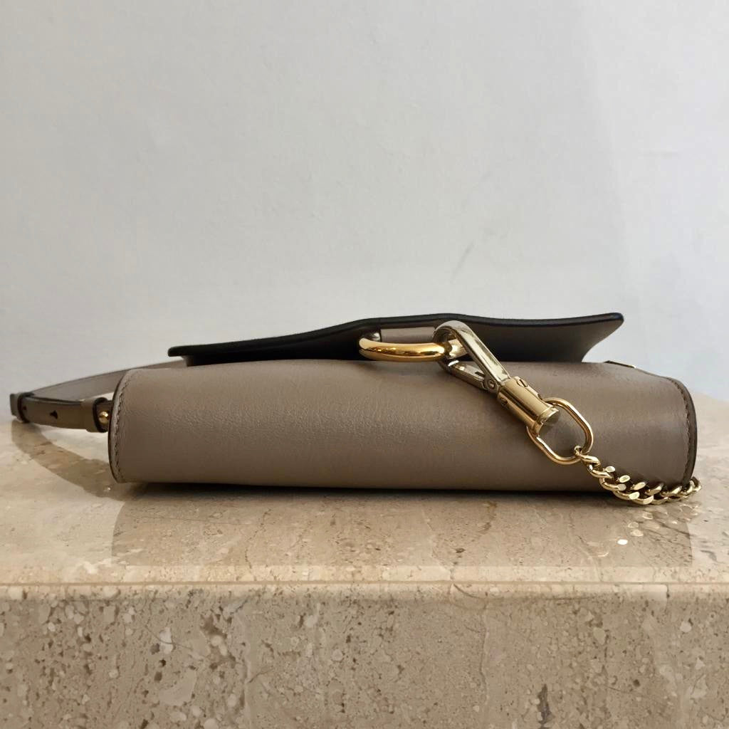 Authentic CHLOE Taupe Faye Wallet On Strap Crossbody