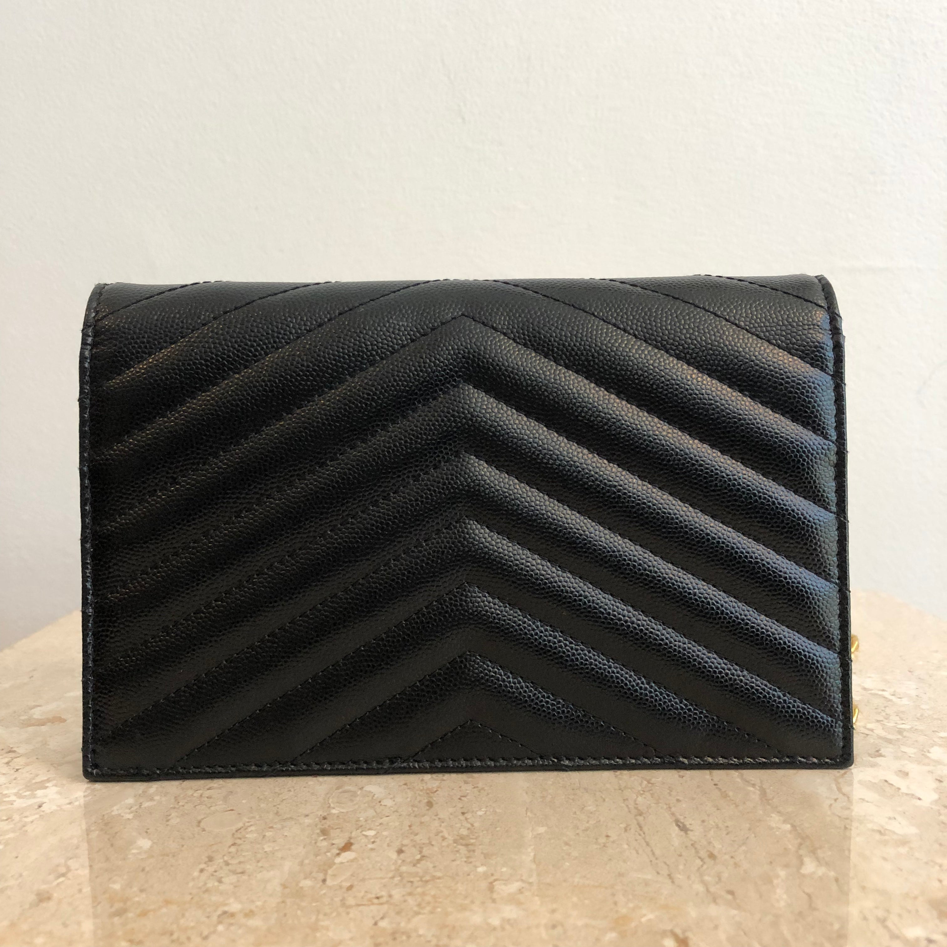 Authentic YVES SAINT LAURENT Small/Mini Grain De Poudre Black Wallet On Chain