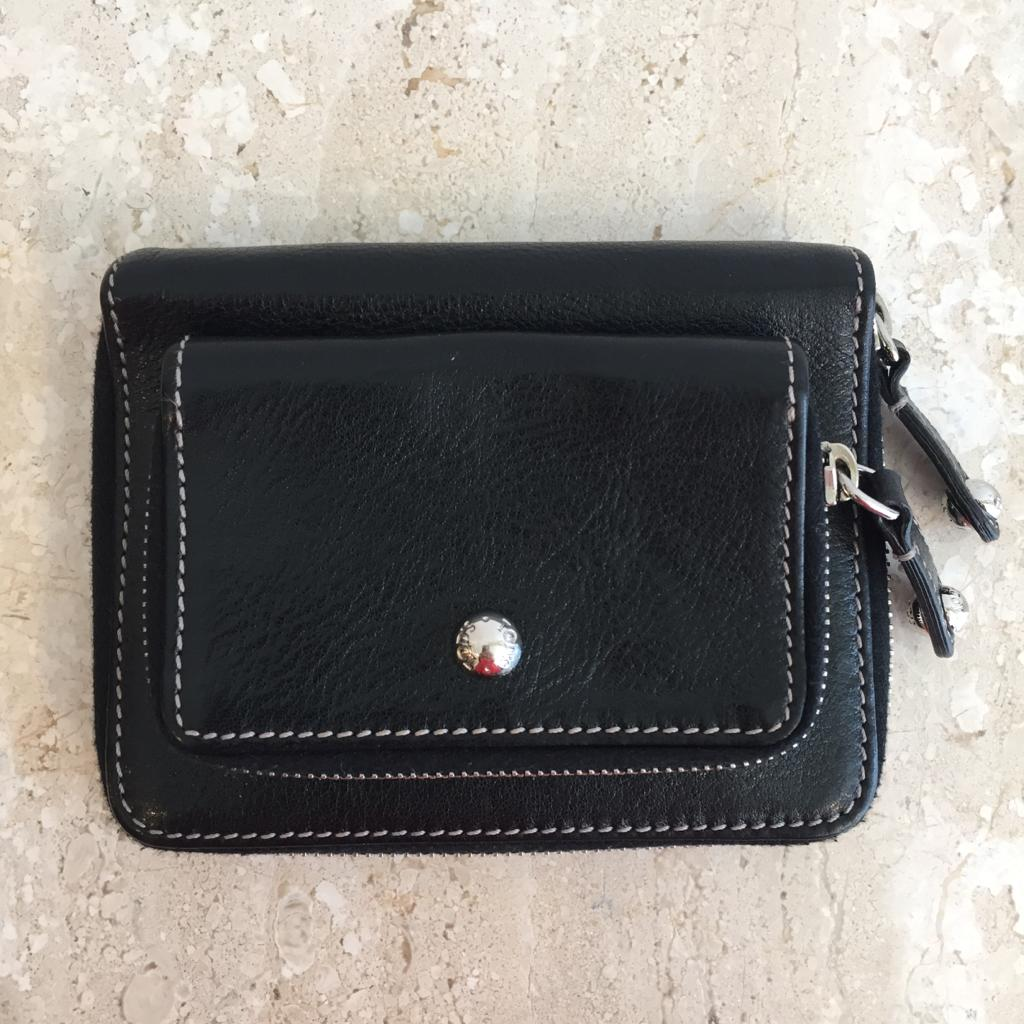 Authentic TODS Black Leather Compact Double Zip Wallet
