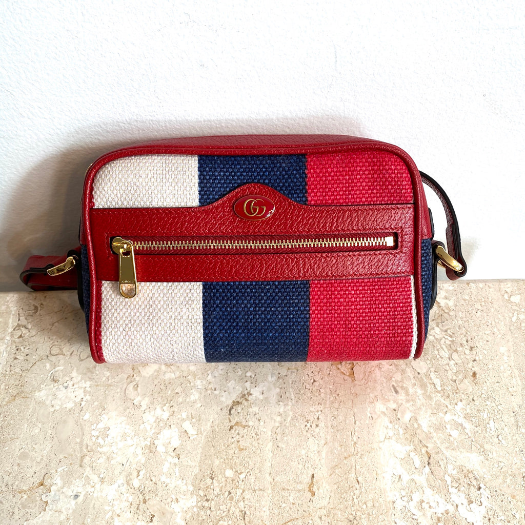 Authentic GUCCI Sylvie Stripe Mini Ophidia Mini Shoulder/Crossbody Bag