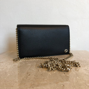 23d98c81b3b Authentic GUCCI Black Leather Wallet On Chain – Valamode
