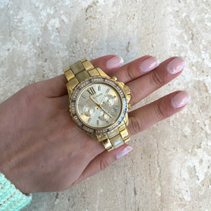 Authentic MICHAEL KORS Gold Tone/Beige Resine Watch