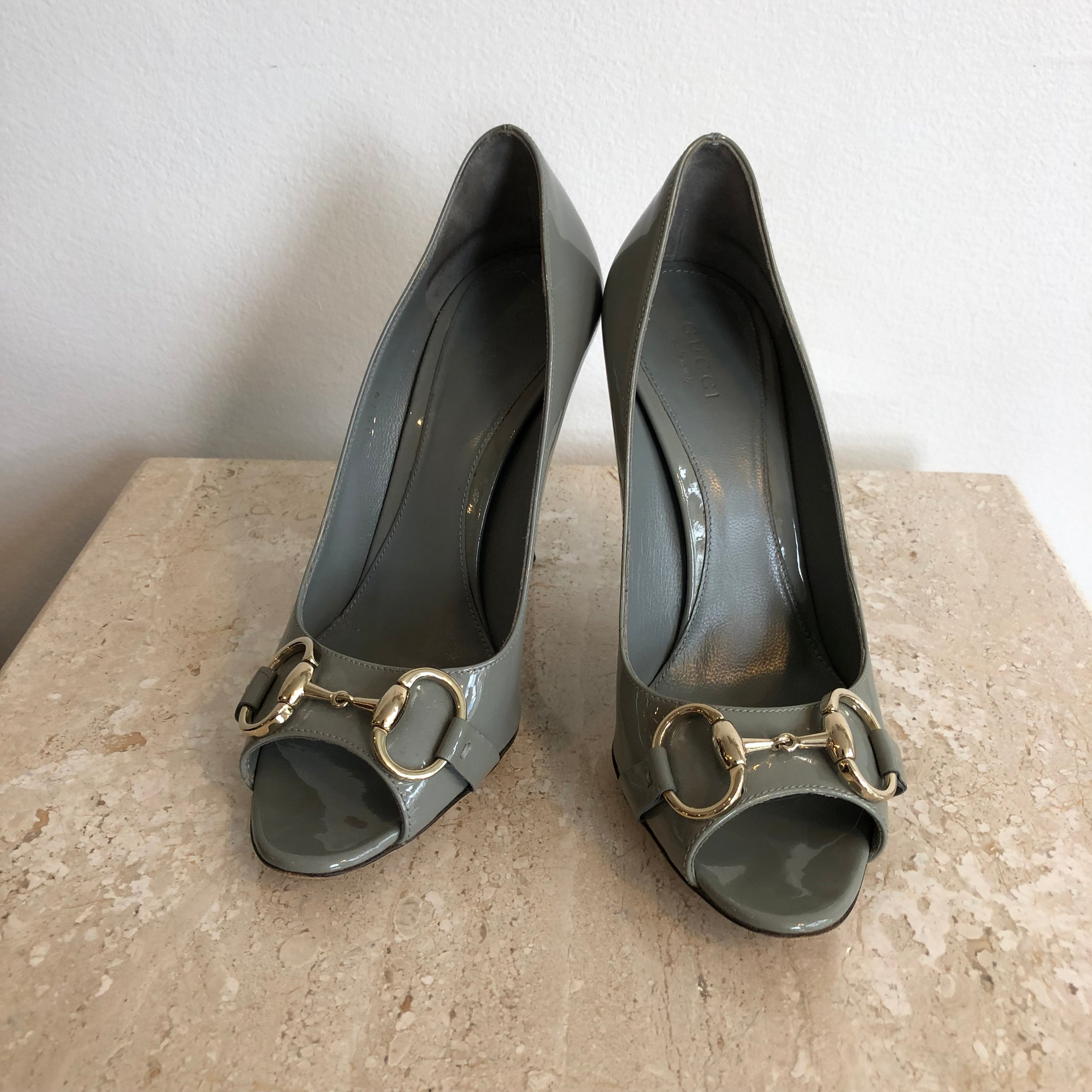 Authentic GUCCI Grey Patent - 7 - Peeptoe Pumps