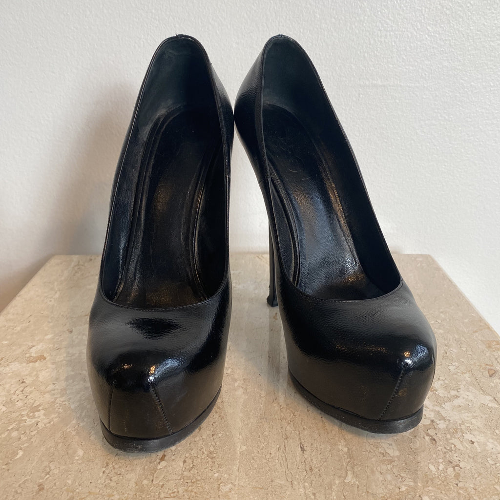 Authentic YVES SAINT LAURENT Tribute Black Leather Size 8.5
