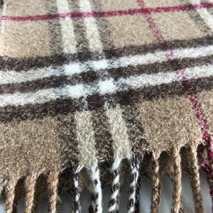 Authentic BURBERRY Check Beige Metallic Scarf