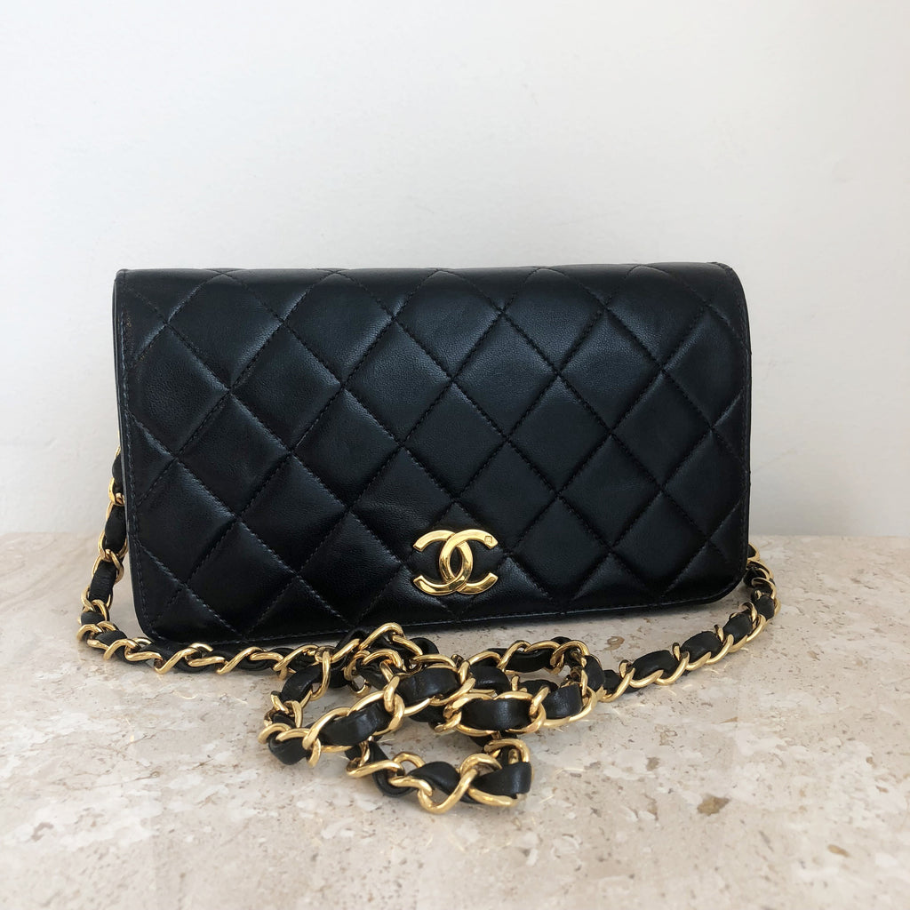 Authentic CHANEL Vintage Small Clutch With Chain 7.5""