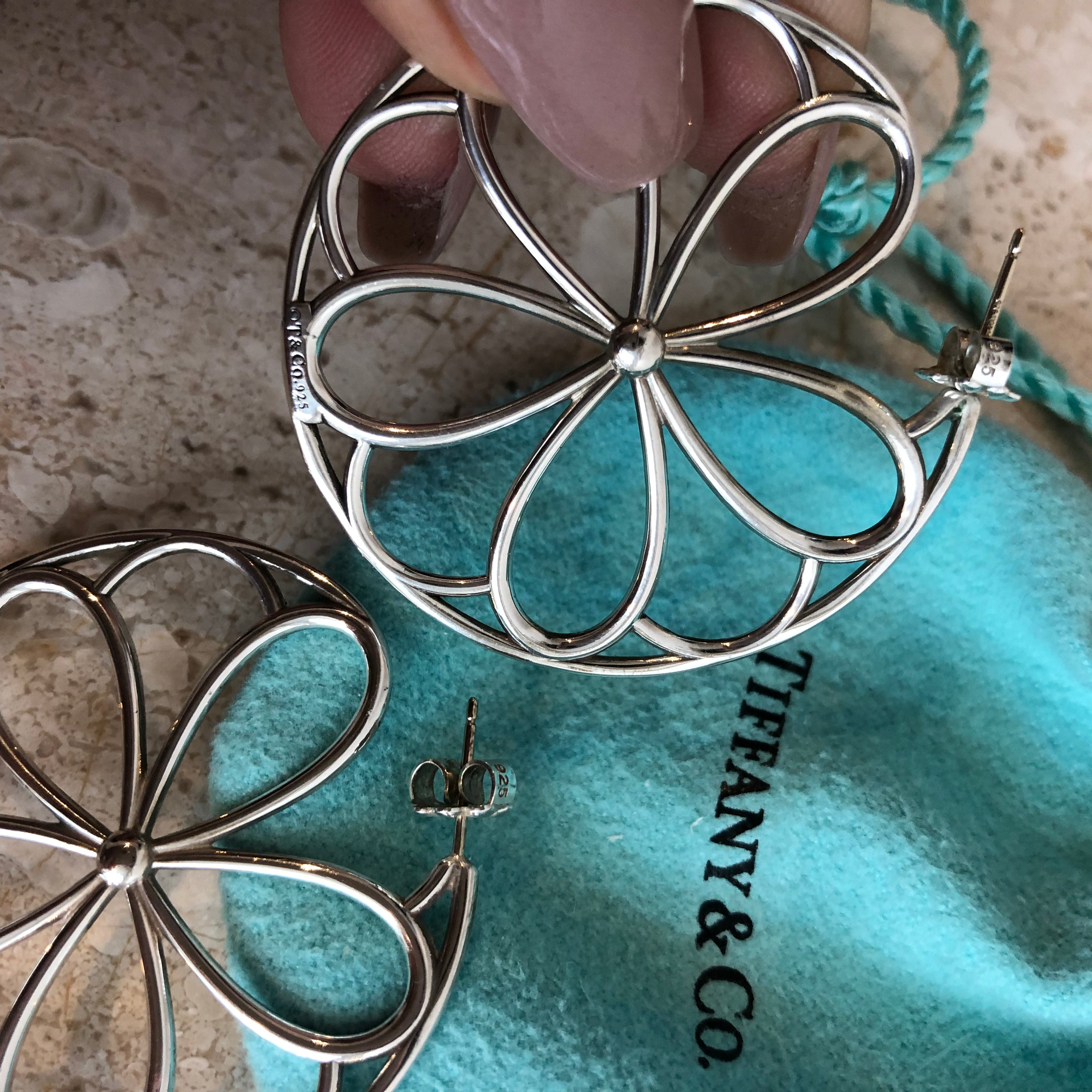 Authentic TIFFANY & CO. Sterling Silver Large Garden Flower Pedal Circle Round Earrings
