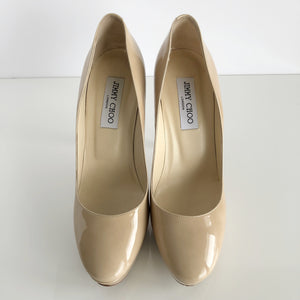 Authentic JIMMY CHOO Cosmic Patent Nude Pumps Size 39