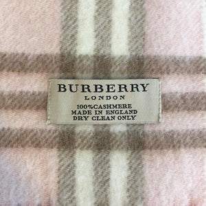 Authentic BURBERRY 100% Cashmere Pink Novacheck Scarf