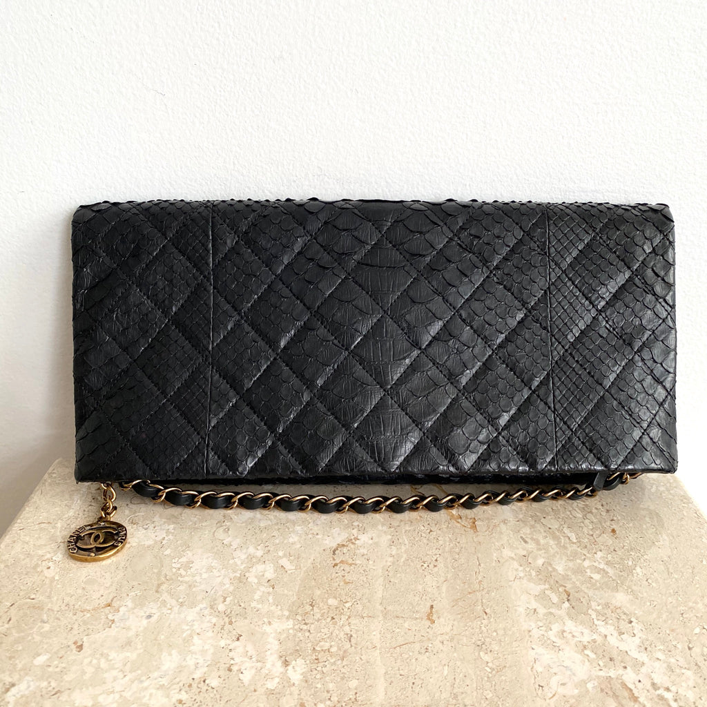Authentic CHANEL Black Python Medallion Clutch