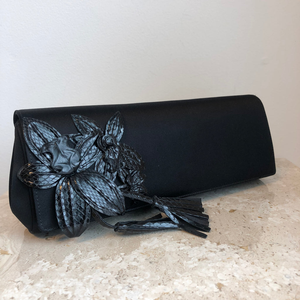 Authentic GUCCI Black Satin & Python Clutch