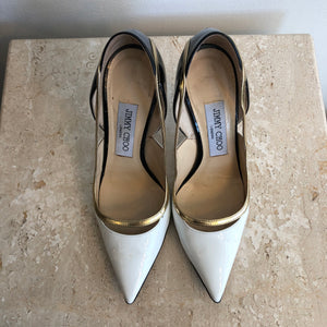 Authentic JIMMY CHOO Shoe - Size 6 - White/Black Patent - Pump