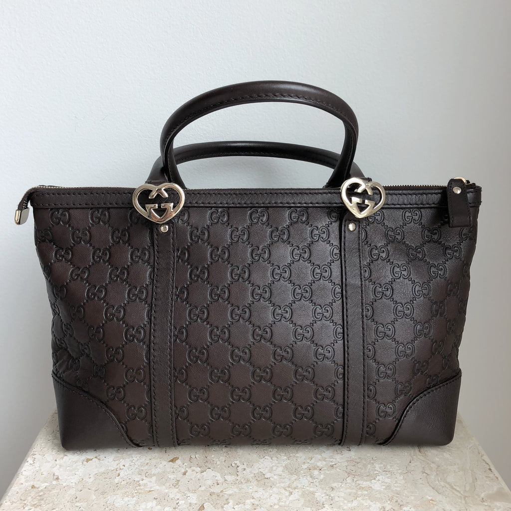 Authentic GUCCI Lovely Heart Guccissima Brown Leather Tote