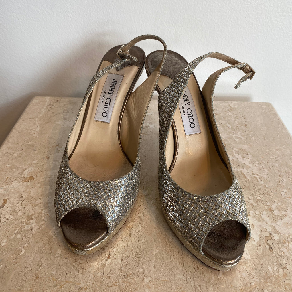 Authentic JIMMY CHOO Glitter Luna Slingback Size 8